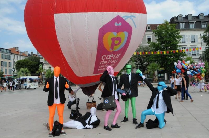 Montgolfière Publicitaire pour le lancement de la marque Coeur de Pau pour L'Office des Commercants et de l'Artisanat de Pau (OFCAP)